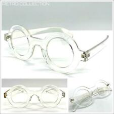 Classic Sophisticated Professor Waldo EYE GLASSES Round Crystal Clear Frame Lens