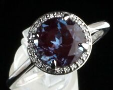 14K White Gold Diamond & Chatham Alexandrite Halo Style Engagement Ring 7