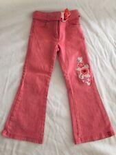 Girls Esprit Size 6 Red White Pinstripe Designer Jeans Embroidered Flower Patch