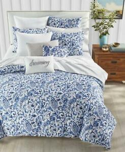 3pc Charter Club Textured Paisley Cobalt Blue & White Full Queen Comforter Set