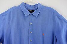 Polo Ralph Lauren Mens 3X Big Blue Camp Shirt Size 3XB Short Sleeve Linen Silk