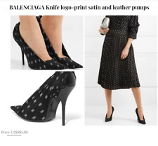 "BALENCIAGA Knife logo-print satin and leather 4"" heels shoes US 7/ IT 7.5  $950"
