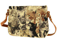 Signare Ladies Woven Tapestry Across Body Shoulder Bag in Cats Desing