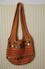 Chateau Handbag Bag Purse Rusty Orange Crochet Beads Sequins Shoulder Handles
