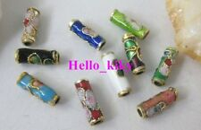 250pcs Mixed colour cloisonne enamel floral tube bead M414