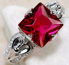2CT Ruby & White Topaz 925 Solid Sterling Silver Ring Jewelry Sz 7