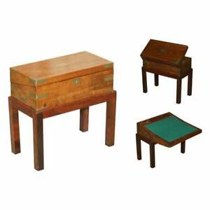 EXQUISITE VICTORIAN MAHOGANY MILITARY CAMPAIGN WRITING SLOPE DESK & LATER STAND