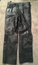 Mens Heavy Leather Motorcycle Pants With Lacing Sides, Size 32