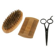 Wood Grooming Kit Set Brush Comb Scissors Men Styling Bread Shaving Tool