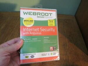 WEBROOT SECURE ANYWHERE INTERNET ANTIVIRUS 3 DEVICES WINDOWS 10 MAC ANDROID IOS