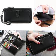 Women's Handbag Leather Wallet Case Card Slot Zipper Purse Wristlet Strap Cover