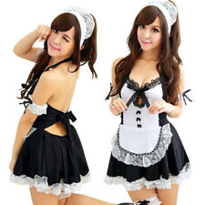Sexy Lingerie Hot Sexy Deep V-Neck Maid Cosplay Costume Set Women Babydoll *H