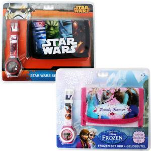 Disney Frozen Star Wars Geschenk Set Kinder Geldbörse Geldbeutel Armbanduhr