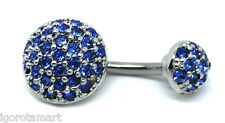 Ball Ends Navel Dangle Button Belly Ring Bar Piercing Blue Crystal Rhinestone