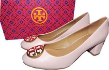 Tory Burch BENTON Gold Logo Low Heel Pumps Sea Shell Pink Leather Shoes 8