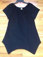 Casual Land Women's Black Tee Shirt Top Short Sleeve Shark Bite Hem Tunic Sz M