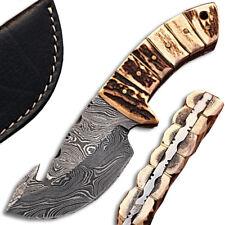 WHITE DEER Damascus Steel Skinner Knife Stag Handle & Gut Hook FULL TANG Limited