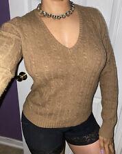 J. Crew V-Neck Tan Brown Cambridge Merino Wool Cashmere Pullover Knit Sweater M