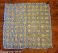 "vintage scarf 29"" x 29"" potted flower design pattern blue yellow square"