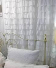 1 Shabby Beach Cottage Chic White Petticoat Waterfall Ruffle Curtain Drape Panel