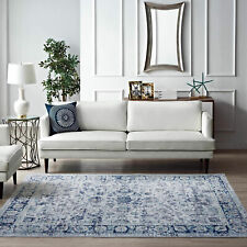 Large Rugs Blue Ivory Soft Allover Traditional Distressed Carpet Mat 5 Sizes