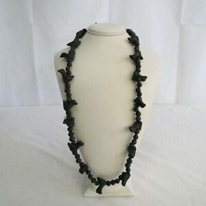 Black Clay Bird Bead Necklace