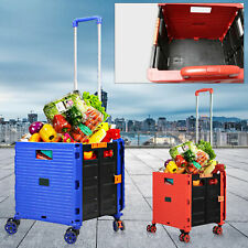 6cm Folding Shopping Cart Rolling Trolley Portable For Grocery Laundry Travel