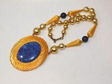 """Huge Blue Lapis Cab Pendant Matte Gold tone Bead Strand 19"""" Necklace 9a 75"""