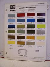 1972 Mercury Monterey Cougar Comet Marquis Paint Chips Color Chart R-M 72