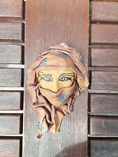 Kleine marokkanische Ledermaske Maske Leder Beduinen Frau handbemalt 12 cm