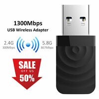 USB WiFi Dongle 1300Mbps Dual Band 2.4G/ 5G Wireless Adapter Mini Network Card