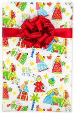 "Lg. 24"" x 15' Roll CHRISTIAN CHRISTMAS GIFT WRAP Bright Child's Nativity"