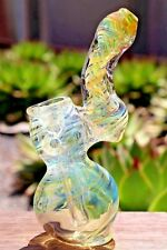 "4.5"" GOLD COLLECTIBLE TOBACCO GLASS BUBBLER SMOKING HERB BOWL HAND PIPES GIFT"