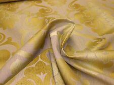 5Y new Robert Allen DAHLIA GARDENS woven fabric medallions damask design Citrine