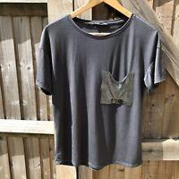 Zara Grey Chainmail Pocket Tee T-shirt Top Size S / UK 10 VGC