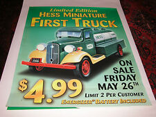 """HESS 2000 MINIATURE FIRST TRUCK LARGE STATION VERTICAL POSTER 57 3/4"""" X 46"""""""