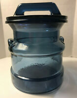 Cobalt Blue Milk Can Glass Canister Jar LE Smith