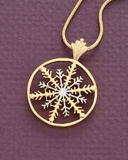 "Snowflake Pendant and Necklace,Hand Cut Snowflake ,1 1/8"" in Diameter, ( # 892 )"