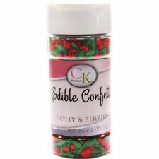 Holly & Berries Christmas Edible Confetti Sprinkles 2.8 oz from CK #11406