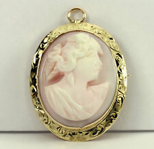 gold high relief pink carved shell! Antique cameo brooch pin pendant 14K yellow