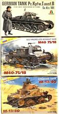 Italeri/Zvezda lot of 3, 1/35,  Panzer I Ausf B, Italian M-13/40 and M40-75/18