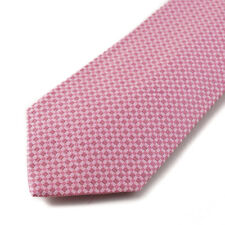 New $230 ISAIA 7-Fold Pink Woven Square Jacquard Pattern Silk Tie Handmade