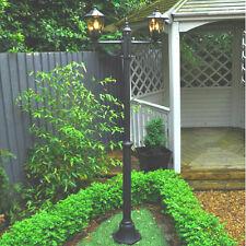 Victoriano Iluminación al Aire Libre Lámpara de Jardín Sendero Doble Doble Cabeza Post Linterna Luz