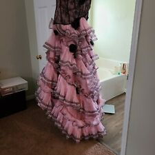 One of a kind! Pink and Black Strapless Ball or prom Gown with train size 10-12