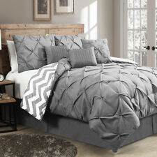 Luxurious Reversible 7-piece Comforter Set Queen Size Bedding Pinch Pleat Gray