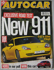 AUTOCAR 1/10/1997 featuring Porsche 911, Ford Puma, Vauxhall, Seat