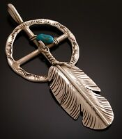 Silver Feather & Turquoise Pendant by Ben Begay  Sacred Medicine Wheel  PS71B