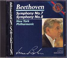 Leonard BERNSTEIN: BEETHOVEN Symphony No.7 & 8 New York CBS CD 1986 Sinfonien