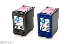 HP 21 Black + HP 22 Colour Relled Ink Cartridges XL C9351AE C9352AE HP21 HP22