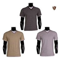 New Mens DISSIDENT V-Neck Stripe Short Sleeve Cotton Casual Summer T Shirt Top